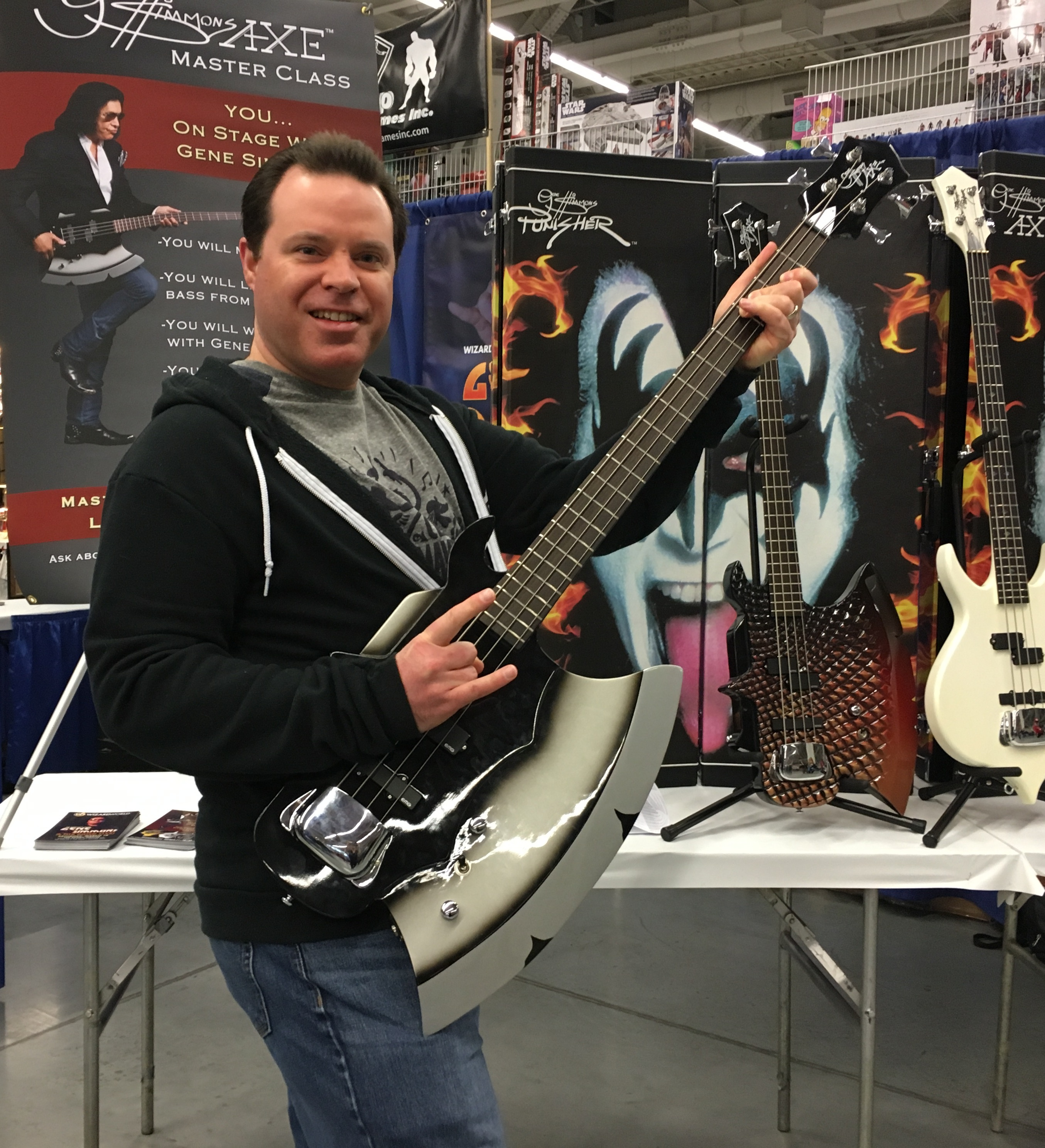 Jeremy Bednarski with Gene Simmons Axe Bass