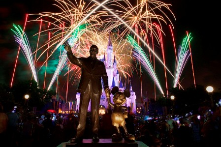 Walt Disney and Mickey Mouse Statue with Fireworks