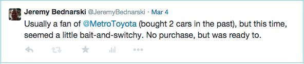 My Tweet to Toyota