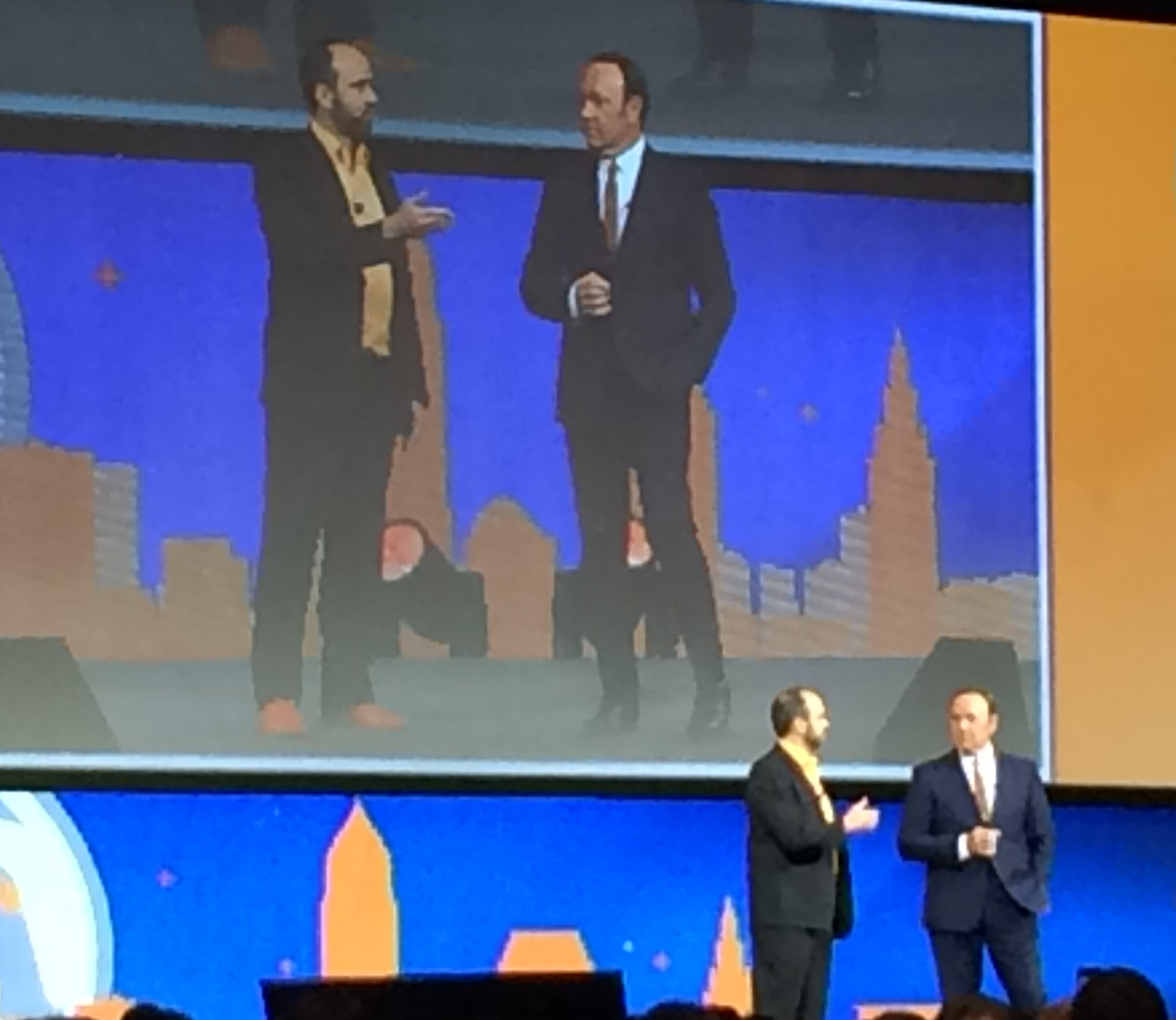 Joe Pulizzi and Kevin Spacey at Content Marketing World 2014