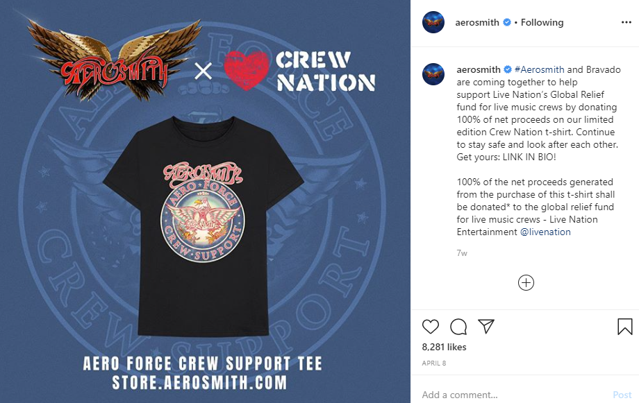 Aerosmith Crew Nation T-Shirt to Benefit Crew Workers