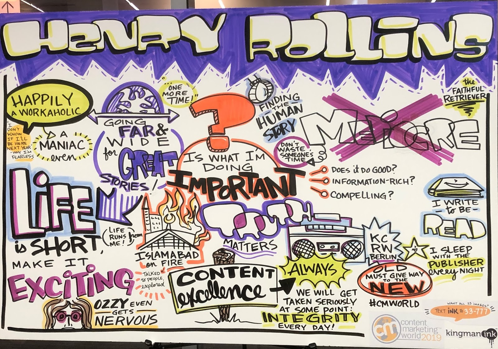 Illustration of Henry Rollins's Presentation at Content Marketing World 2019