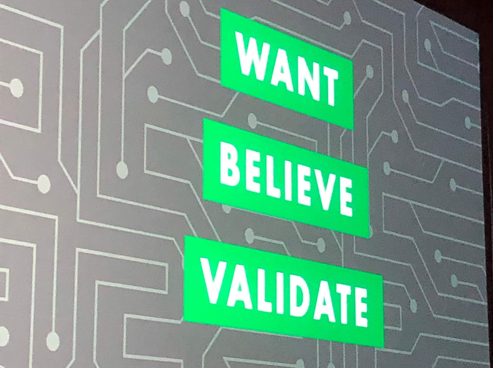 Tamsen Webster's Slide at Content Marketing World 2019 - Want, Believe, Validate