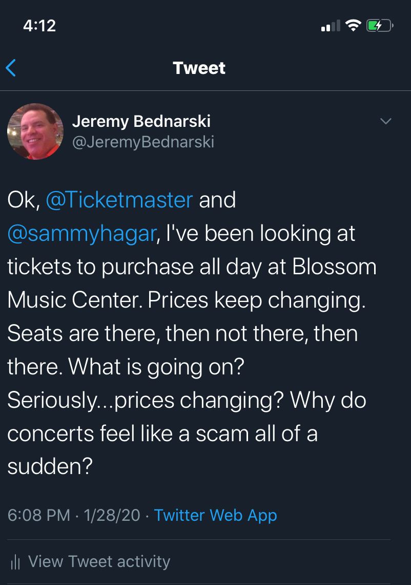 My Tweet to Ticketmaster and Sammy Hagar