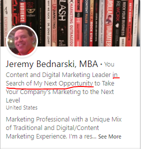 Jeremy Bednarski LinkedIn Profile