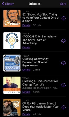 iPhone Screen Shot of Content Marketing Podcast Episodes
